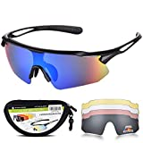 Sports Sunglasses Bike Cycling Sunglasses for Men Women with 5 Interchangeable Lens,Polarized Sunglasses with Anti-Uv400 for Driving Fishing Glof