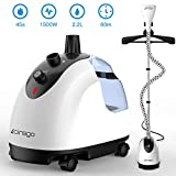Cirago LS-609C Professional Heavy Duty Hanging Clothes Steamer,2.2 L(74OZ) 80min of Continuous, 2 Level Steam Adjustment, with Fabric Brush/Garment Hanger/Anti-scalding, 2.2L, White/Black
