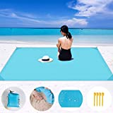 COPOZZ Sand Free Beach Blanket, Outdoor Waterproof Picnic Mat Compact Soft Beach Blanket for Travel Camping Hiking Fishing (Sky Blue, Large, 82' x 79')