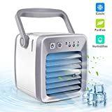 Dr.fasting Air Cooler, Mini Portable Air Conditioner Fan Noiseless Evaporative Air Humidifier, Personal Space Air Conditioner, Mini Cooler,3 Gear Speed, Office Cooler Humidifier & Purifier