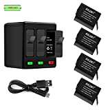 AILUKI GoPro Rechargeable Battery 4 Pack x 1500mAh and 3-Channel Charger for GoPro Hero 5 Black ,Hero 6 Black, Hero 7 Black ,Gopro 2018(Fully Compatible with Original) - Update Version