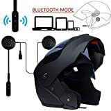 MOPHOTO Full Face Motorcycle Bike Helmet w/Bluetooth Headset, Modular Flip Up Dual Visor Motorcross Helmets for Men/Women, Matte Black with Headset, Large (59-60cm)