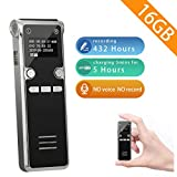 Portable Digital Voice Recorder- Tap Recorder 16GB Activated Sound Audio Recorder Device MP3 Player A-B Repeat for Lecture Meeting Interviews Class