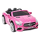 Uenjoy 12V Ride On Cars Licensed Mercedes-Benz SL65 AMG Electric Cars for Kids, RC Remote Control, LED Lights, Spring Suspension, Kiddie Ride, Safety Lock, Pink