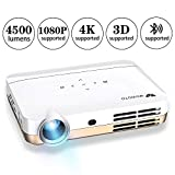 WOWOTO H10 Mini Video Projector Portable, DLP Android 6.0 Projector 4500 Lumen with WiFI Bluetooth Airplay HDMI USB Support 3D 4K 1080P Full HD for Home Theater Business