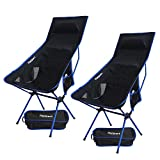 2 Pack Lightweight Folding Camping Backpack Chair, Compact & Heavy Duty Portable Chairs for Hiking Picnic Beach Camp Backpacking Outdoor Festivals