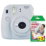 Fujifilm Instax Mini 9 (Smokey White) Instant Camera with Mini Film Twin Pack