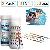 supurst Pool Test Strips, 6-in-1 Spa Test Strips for Hot Tubs, PH Total Chlorine, Free Chlorine/Bromine, Total Alkalinity, Cyanuric Acid, Total Hardness Water Chemistry Tester, 100 Count (2 Pack)