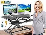Standing Desk Stand Up Desks Height Adjustable Sit Stand Converter Laptop Stands Large Wide Rising Black Dual Monitor PC Desktop Computer Riser Table Workstation Foldable Extender Ergonomic 37 inch