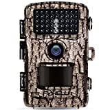 Foxelli Trail Camera - 14MP 1080P Full HD Wildlife Scouting Hunting Camera with Motion Activated Night Vision, 120° Wide Angle Lens, 42 IR LEDs and 2.4' LCD Screen, IP66 Waterproof Game Camera