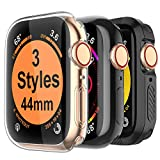 MARGE PLUS for Apple Watch Screen Protector 44mm, 3 Style Case for iWatch Series 4 44mm, Soft TPU All Around Cover, 1 Clear & 1 Black, 1 Shock-Proof Bumper Case Black