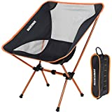 Ultralight Folding Camping Chair, Portable Compact for Outdoor Camp, Travel, Beach, Picnic, Festival, Hiking, Lightweight Backpacking (Orange)