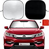 Shinematix 2-Piece Windshield Sun Shade - Foldable Car Front Window Sunshades for Most Sedans SUV Truck - Best 210T Reflective Material Blocks 99% UV Rays and Keeps Your Vehicle Cool - Universal Fit