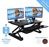 AIRLIFT 36' Gas-Spring Height Adjustable Standing Desk Converter Workstation Ergonomic Dual Monitor Riser with Keyboard Tray and Phone/Tablet Holder, Black