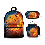 FOR U DESIGNS Cool School Backpack for Boys Fire Basketball Backpack Set 3 Pieces with Lunchbox Pencilcase