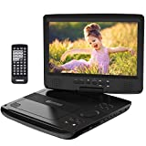 HD JUNTUNKOR 12.5' Portable DVD Player with 5 Hrs Rechargeable Battery, Unique Design for Dual Use Purpose, 10.1' HD Swivel Screen, Car Headrest Case, Remote Control, Car Charger, USB/SD Card Reader