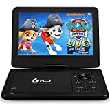 DR. J 12.5' Portable DVD CD Player 10.5' HD Swivel Screen with 5 Hours Rechargeable Battery, Region-Free Video Player with Remote Control and AV Cable Sync TV with Car Charger