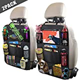 ULEEKA Car Backseat Organizer with 10' Tablet Holder + 9 Storage Pockets Seat Back Protectors Kick Mats for Toy Bottle Book Drink, Universal Fit Travel Accessories for Kid & Toddlers (2 Pack)
