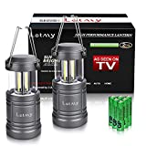 LETMY 2 Pack Camping Lantern with 6 AA Batteries - Magnetic Base - Latest COB Technology Emits 500 Lumens - Collapsible, Waterproof, Shockproof LED Lantern for Emergency, Hurricane, Storms, Outage