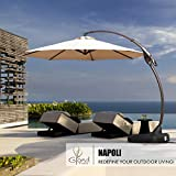 Grand Patio Napoli Deluxe 11 FT Curvy Aluminum Offset Umbrella, Patio Cantilever Umbrella with Base, Champagne