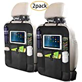Fullsexy 2 Pack Car Back Seat Organizer with Touch Screen Tablet Holder, Waterproof Kick Mats Backseat Protector with 5 Storage Pockets for Kids (25' X 18')