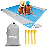 OUSPT Beach Blanket, Sand Free Picnic Outdoor Mat- Large 6.6' x 6.9' /6.6' x 8.2' - Pocket Zippered Portable Waterproof Soft Fast Drying Nylon Oversize Blanket for Travel Camping Hiking (Blue)