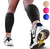 Calf Compression Sleeves by SPARTHOS (Pair) - Leg Compression Socks for Men and Women - Shin Splint Calf Pain Relief Calf Air Travel Flight Nurses Maternity Basketball Football Soccer (Black-S)