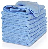 VibraWipe Microfiber Cloth – Pack of 8 Pieces (All-Blue) Microfiber Cleaning Cloths, Highly Absorbent, Lint-Free, Streak-Free, for Kitchen, Car, Windows