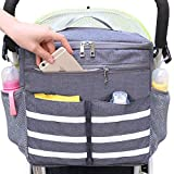 Parents Stroller Organizer Travel Bag with Shoulder Strap Insulated Bottle Holder Lightweight Design Storage Pockets for Bottles,Diapers,Toys,Saliva Towel-Fits All Baby Stroller Models (White Stripe)
