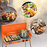 KOOLWOOM Portable Liquid Propane Grill,2 Burner Grill/Stove Barbecue Grill Outdoor Cooking Camping Stove Stainless Steel (Orange)