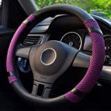 BOKIN Steering Wheel Cover Microfiber Leather Viscose, Breathable, Anti-Slip, Odorless, Warm in Winter Cool in Summer, Universal 15 Inches(Purple)