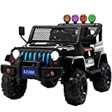 Uenjoy Ride on Car with Remote Control 12V Electric Car for Kids, Music, Story Playing, Colorful Lights, Sunshine Model, Black