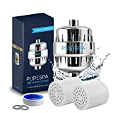 PureSpa High Output 15 Stage Shower Filter - Filters and Helps with the Removal of Chlorine, Fluoride, Nickel and Lead - Fits any Showerhead - Water Softener with Vitamin C - 2 Replacement Cartridges
