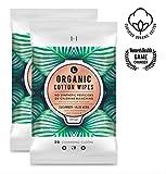 L. Organic Cotton Feminine Wipes with Cucumber + Aloe, Moisturizing & pH-Balanced, 28, pack of 2