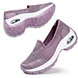 STQ Women Walking Athletic Shoes Breathable Casual Running Knit Slip On Sneakers Mauve 7.5