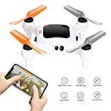Smart Nano Drone with 15MP Camera 1080P FHD Live Video WiFi Quadcopter GPS, One Touch Take-Off and Landing for Beginners on Smartphone (White)