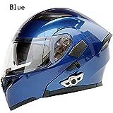 MOPHOTO Bluetooth Integrated Motorcycle Helmets, Anti-Glare Full Face Flip up Dual Visors Modular Bike Motorcross Helmets Intercom Helmet/Rider to Rider, XLarge (61-62cm)
