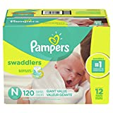 Diapers Newborn / Size 0 ( 10 lb), 120 Count - Pampers Swaddlers Disposable Baby Diapers, ONE MONTH SUPPLY