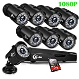 XVIM 8CH 1080P Security Camera System Outdoor with 1TB Hard Drive Pre-Install CCTV Recorder 8pcs HD 1920TVL Upgrade Outdoor Home Surveillance Cameras with Night Vision Easy Remote Access Motion Alert