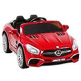 Uenjoy 12V Ride On Cars Licensed Mercedes-Benz SL65 AMG Electric Cars for Kids, RC Remote Control, LED Lights, Spring Suspension, Kiddie Ride, Safety Lock, Red