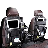 Car Back seat Organizer with Foldable Table Tray, PU Leather Car Back seat Organizer for Babies Toys Storage with Foldable Dining Table Holder Pocket for Baby and Kids (1 Pack)