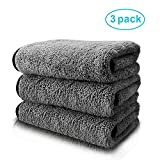 mixigoo Car Cleaning Towels Microfiber - Super Absorbent Microfiber Cleaning Cloth Lint Free, Big Size Premium Professional Soft Microfiber Towels for Car/Windows/Screen, Use Wet or Dry - Pack of 3