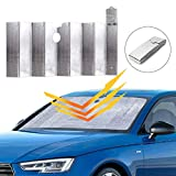Car Windshield Sunshade, Auto Front Window Protector Sun Shade Visor Heat Shield Cover Foldable UV Ray Reflector for Car, Keeps Vehicle Cool/Easy to Use/Fits Windshields of Various Sizes (59'x 31')