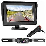ZSMJ Backup Camera and Monitor Kit HD 720P Easy Installation for Car/Suv/Pickup/Truck/Van/RV/Trailer Single Power Rear View System Driving/Reversing Use IP68 Waterproof Night Vision
