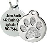 Paw Print Round Stainless Steel Pet ID Tag - Dog and Cat ID Tag (Paw Size Regular)