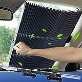 Tysonir Car Windshield Sun Shade, Retractable Sun Shade, Sunshade to Keep Your Vehicle Cool and Damage Free, UV Sun and Heat Reflector, Easy to Use, 2019 New
