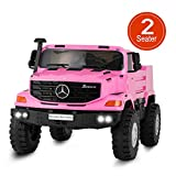 Uenjoy 2 Seater 12V Kids Ride On Car Mercedes Benz Zetros Electric Truck Motorized Vehicles w/Remote Control, Battery Powered, Storage Box, LED Lights, Suspension, Music, Horn, Pink