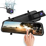 junsun Mirror Dash Cam Backup Camera 10 Inch Touch Screen 1080P Stream Media Dual Lens Full HD Reverse Camera 170° Wide Angle with Backup Camera G-Sensor Parking Monitor