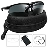 XAegis Polarized Sunglasses for Men Women Sport Glasses for Cycling Fishing Driving Running Golf Baseball - UV Protection Tactical Sunglasses with Case