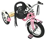 Schwinn Roadster Tricycle with Classic Bicycle Bell and Handlebar Tassels, Featuring Retro Steel Frame and Adjustable Seat, for Children and Kids Ages 2-4 Years Old, Pink